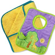 Kids Towel Yellow, Toddler Bib and Cloth Tree